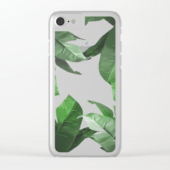 Tropical Palm Print Shadows Clear iPhone Case
