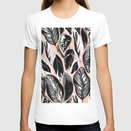 Calathea black & grey leaves with pale background T-shirt