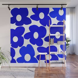 Large Blue Retro Flowers White Background Fresh Blue And White  #decor #society6 #buyart Wall Mural