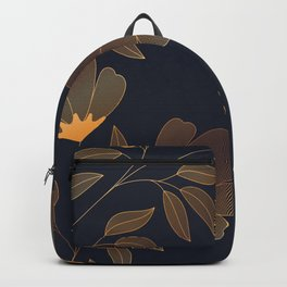 Elegant Gold Floral Design Backpack