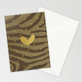 Classy Gold Print and Dots Stationery Cards