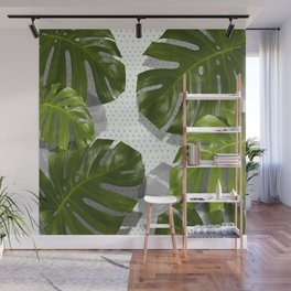 """Monstera plant on polka dots and white"" Wall Mural"