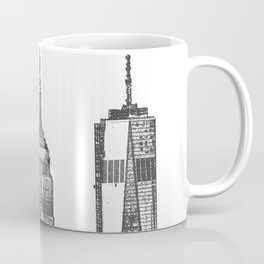 New York City Iconic Buildings-Empire State, Flatiron, One World Trade Coffee Mug