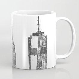 New York City Iconic Buildings-Empire State, Flatiron, One World Trade Coffee Mug