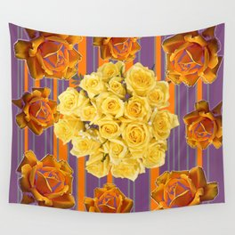 YELLOW ROSES PUCE STRIPE PATTERN Wall Tapestry