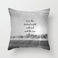 les miserables Throw Pillows featuring Les Miserables Quote Victor Hugo by KimberosePhotography