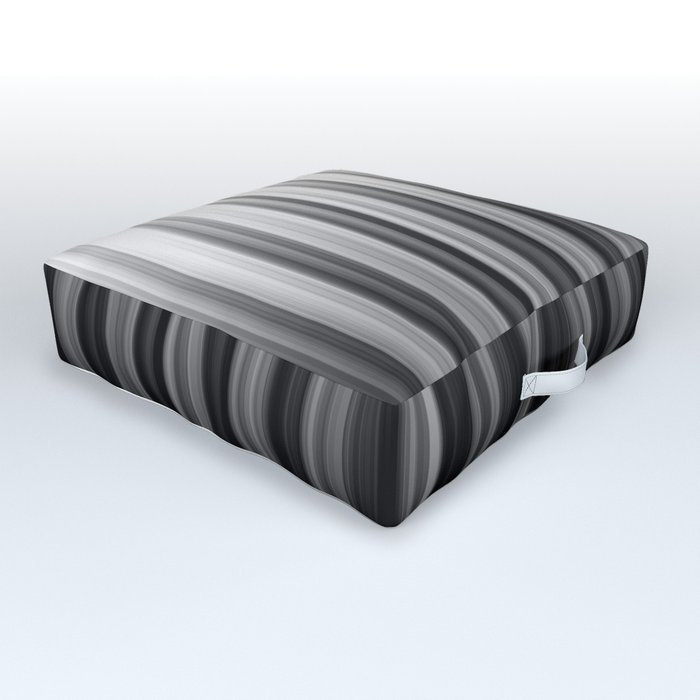 Black And White Soft Blurred Vertical Lines - Ombre Abstract Blurred Design Outdoor Floor Cushion