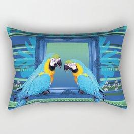 Blue Macaw with frame Rectangular Pillow