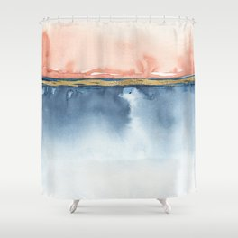 Indigo Blue, Gold And Blush Peach Pink Abstract Watercolor Art Shower Curtain