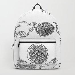 Vertical line of a slice and half of citrus fruit in juicy tones. Graphic design in conceptual e Backpack
