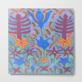Lush Blue Bohemian Floral Garden Metal Print