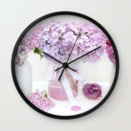 Lavender Purple Hydrangeas Floral  Wall Clock