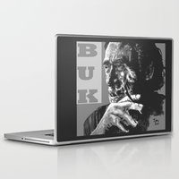 popart Laptop & iPad Skins featuring Charles Bukowski -Popart - bw by ARTito
