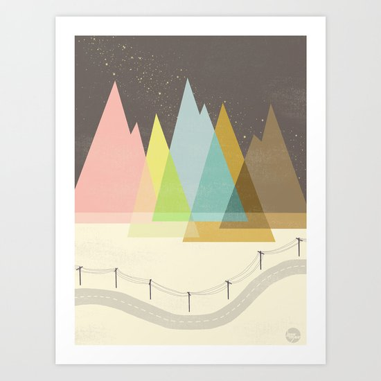 Highway Under Stars Art Print