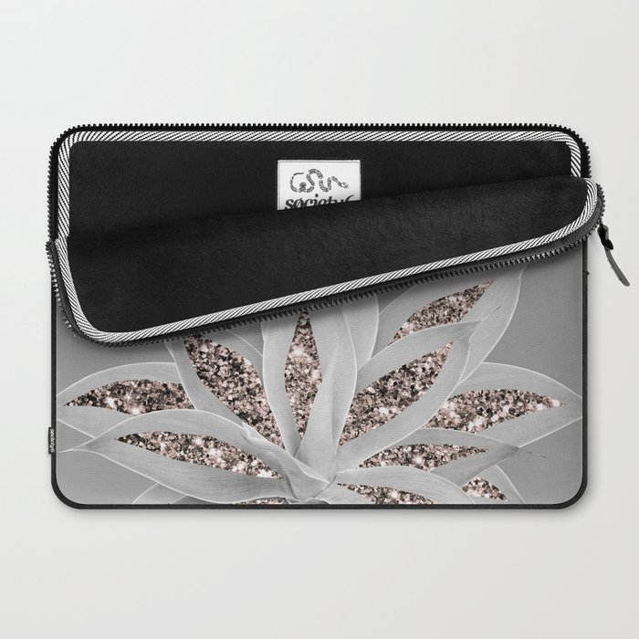 Gray Agave with Rose Gold Glitter #1 #shiny #tropical #decor #art #society6 Laptop Sleeve
