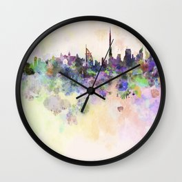 Dubai skyline in watercolor background Wall Clock