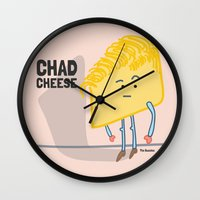 chad wys Wall Clocks featuring Chad Cheese by Infinite Awesome