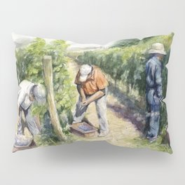 Vineyard Watercolor Landscape Wine Grapes Nature Pillow Sham
