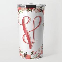 Personal monogram letter 'V' flower wreath Travel Mug