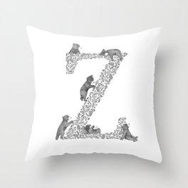 Bearfabet Letter Z Throw Pillow