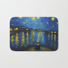 Starry Night Over Cardiff Bay Bath Mat