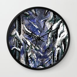 Dark winter forest Wall Clock