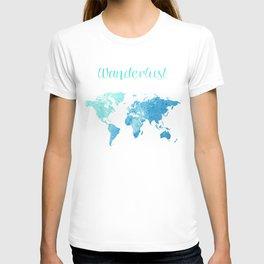 watercolor world map T-shirt