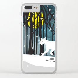 White Wolf at Midnight Clear iPhone Case