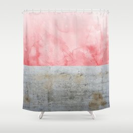 Concrete and Pink Shower Curtain