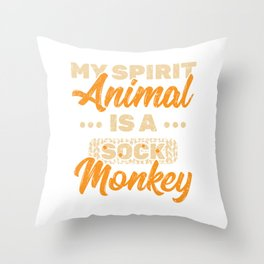 My Spirit Animal Is A Sock Monkey T-shirt Design With Long Tail, Limbs And A Bright Red Lips  Throw Pillow