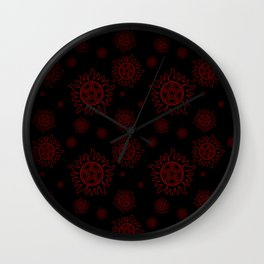 Anti Possesion Pattern Red Glow Wall Clock