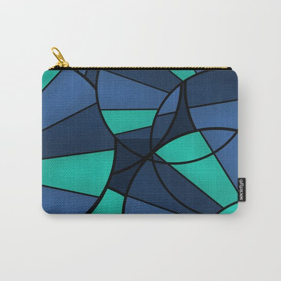 With blue turquoise and black abstract pattern . Carry-All Pouch