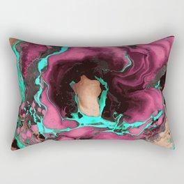Purple cyan on black Marble texture Liquid paint art Rectangular Pillow