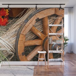 Vintage cart wheel, straw, hay, pumpkin Wall Mural