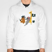 bathroom Hoodies featuring Everybody wants to be the pirate by Picomodi