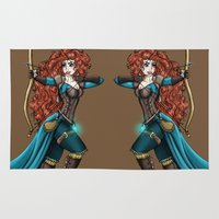 merida Area & Throw Rugs featuring Steampunk Merida by Hungry Designs