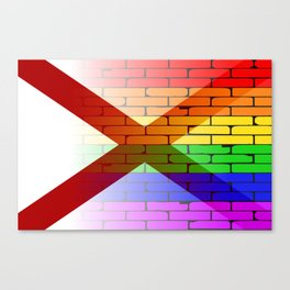 Gay Rainbow Wall Alabama Flag Canvas Print