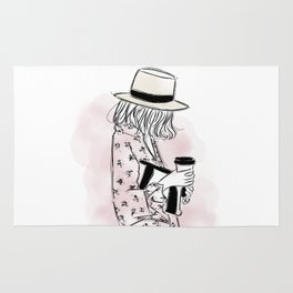 Casual young girl wearing hat and floral dress, clutch bag and a cup of coffee ready to hustle Rug