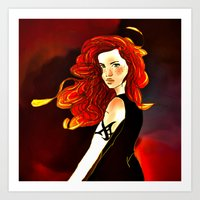 mortal instruments Art Prints featuring Clary Fray from The Mortal Instruments by Cassandra Clare by Amitra Art
