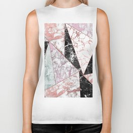 Geometrical rose gold black pink marble triangles Biker Tank