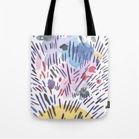physics Tote Bags featuring Quantum physics by Dreamy Me