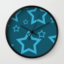 Stars turquoise color design Wall Clock