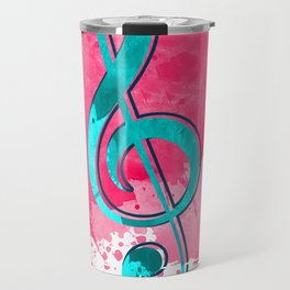 Blue And Pink Contrast Treble Clef Travel Mug