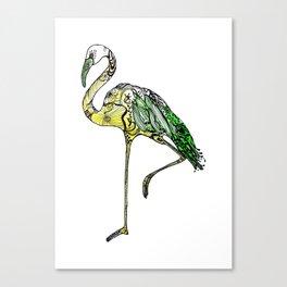 Yellow Flamingo Illustration Canvas Print