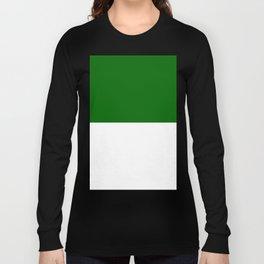 White and Dark Green Horizontal Halves Long Sleeve T-shirt