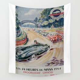 1954 Le Mans poster, Race poster, car poster, programme officiel Wall Tapestry