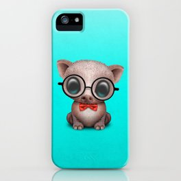 Cute Nerdy Pig Wearing Glasses and Bow Tie iPhone Case