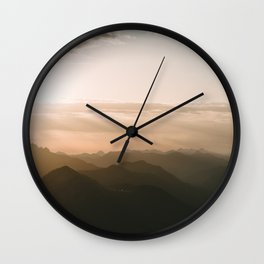Mountain Sunrise in the german Alps - Landscape Photography Wall Clock