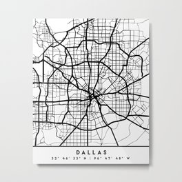 DALLAS TEXAS BLACK CITY STREET MAP ART Metal Print
