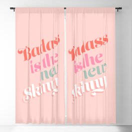 Badass is the new skinny - Coral #girlpower Blackout Curtain